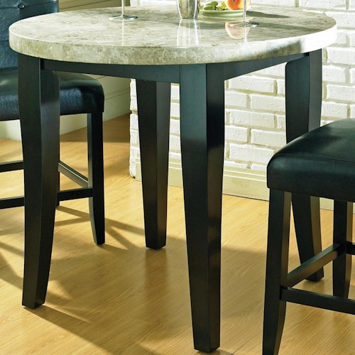 Steve Silver Monarch Marble Veneer Top Round Leg Table