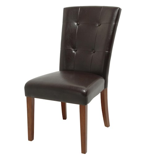 Vendor 3985 Montibello Brown Tufted Parsons Chair