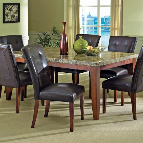 Vendor 3985 Montibello Transitional Rectangular Marble Veneer Dining Table