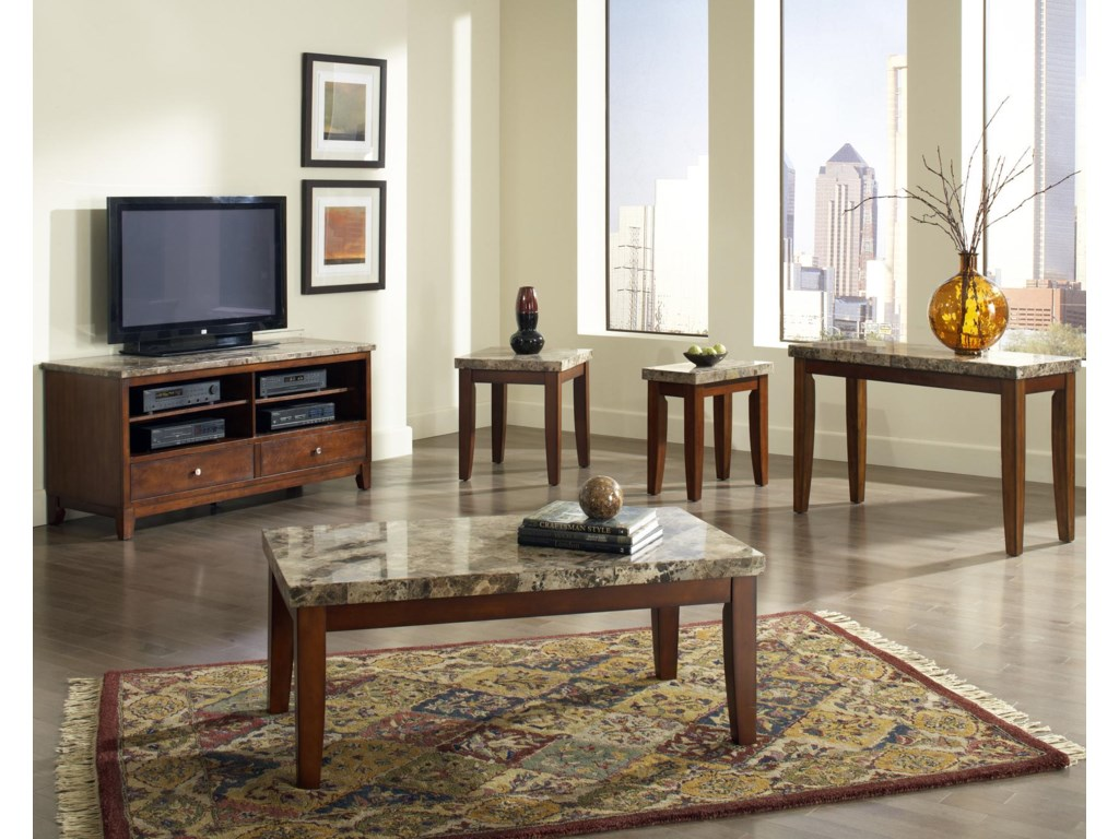 Shown with Coordinating TV Cabinet, Chair Side End Table, Cocktail Table, and Sofa Table
