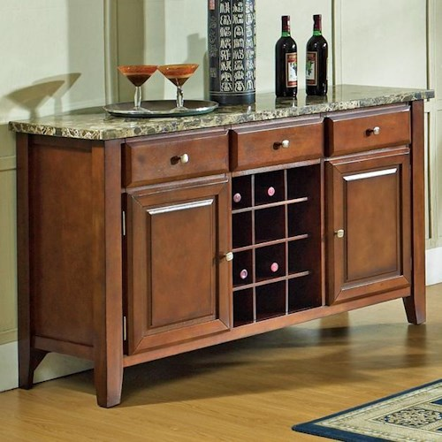 Morris Home Furnishings Montibello Transitional Marble Veneer Top 3-Drawer 2-Door Server with Wine Rack