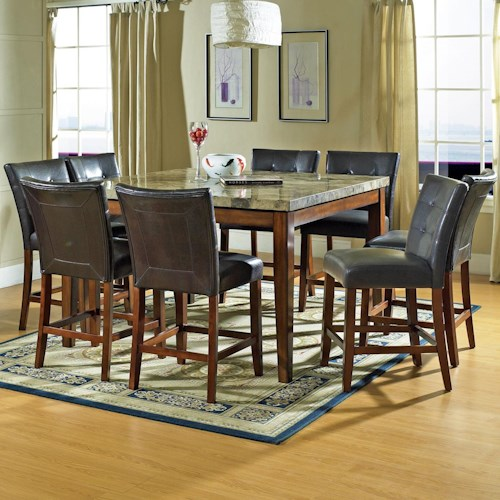 Morris Home Furnishings Montibello 9-Piece Counter Leg Table & Pub Chair Set