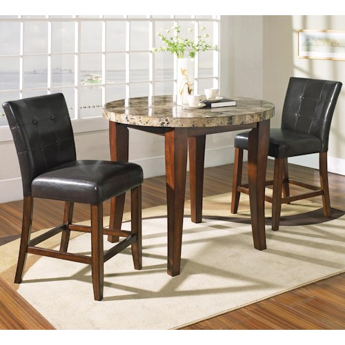 Steve Silver Montibello 3-Piece Counter Height Round Table and Chair Set