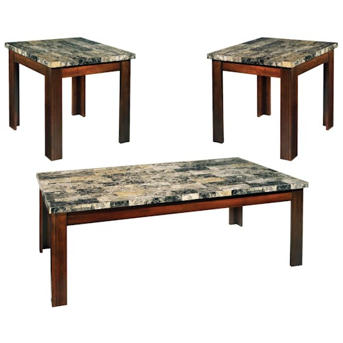 Vendor 3985 Montibello 3-Pack Stone Top Occasional Table Set