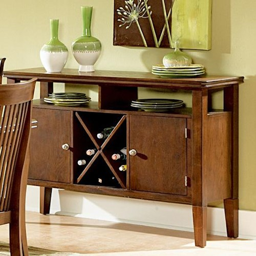 Morris Home Furnishings Montreal Transitional 2-Shelf 2-Door Dining Server with Wine Rack