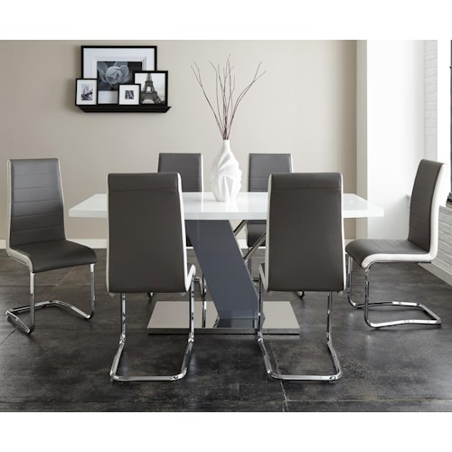 Morris Home Furnishings Nevada 7 Piece Dining Set with Ergonomic Breuer Chairs