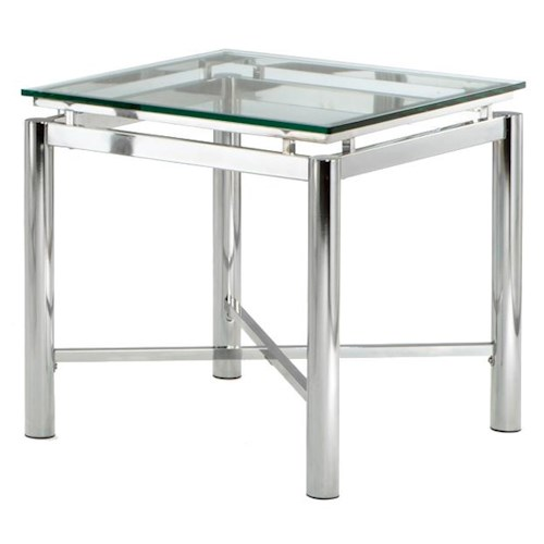 Morris Home Furnishings Nova Glass Top End Table
