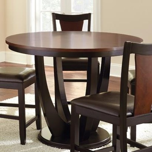 Morris Home Furnishings Oakton Brown/Black Round Single Pedestal Counter Table