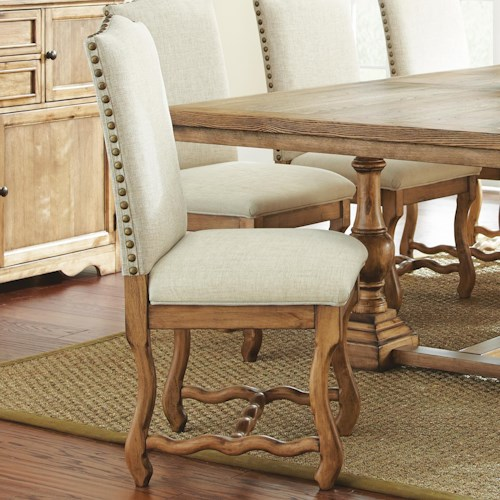 Morris Home Furnishings Plymouth White Upholstered Side Chair with Nailhead Trim