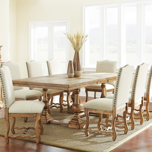 Morris Home Furnishings Plymouth 9 Piece Dining Set with Rectangular Table