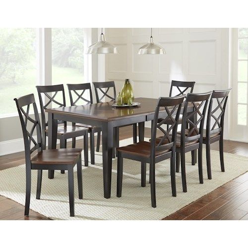 Vendor 3985 Rani  9 Piece Dining Set with Two Tone Brown/Black Top