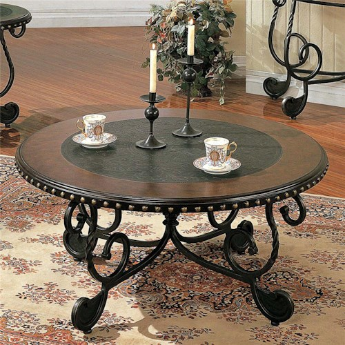 Morris Home Furnishings Rosemont Traditional Round Metal Cocktail Table