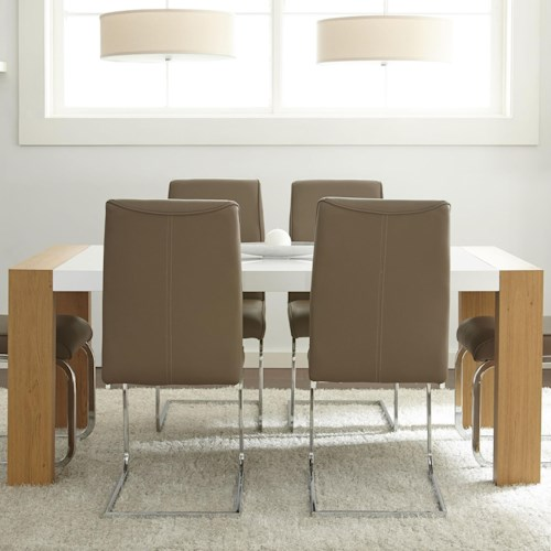 Vendor 3985 Scarlett Two-Tone Dining Table with Block Legs