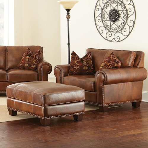 Morris Home Furnishings Silverado Chair and a Half with Ottoman and Nailhead Trim