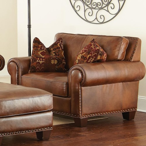 Morris Home Furnishings Silverado Traditional Chair and a Half with Nailhead Trim