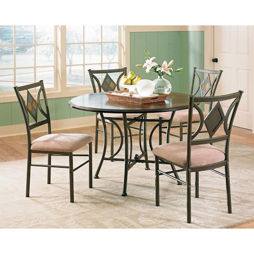 Vendor 3985 Tacoma 5-Piece Casual Round Pedestal Table & Side Chair Set