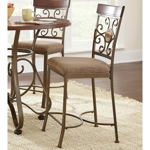 Vendor 3985 Thompson Metal and Glass Suncatcher Counter Height Dining Chair with Upholstered Seat