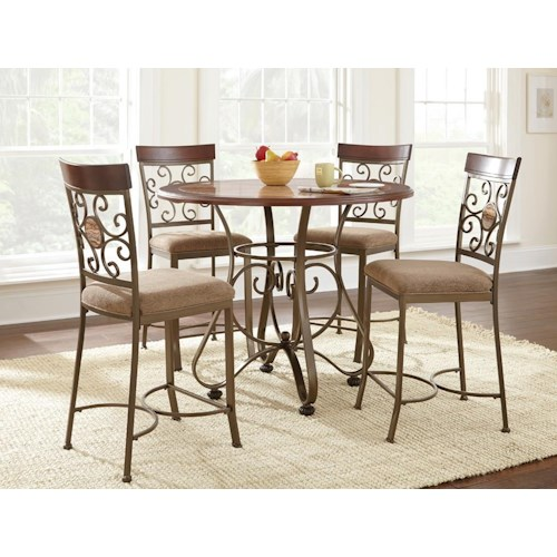Morris Home Furnishings Thompson 5 Piece Counter Height Metal Base Table and Suncatcher Dining Chair Set