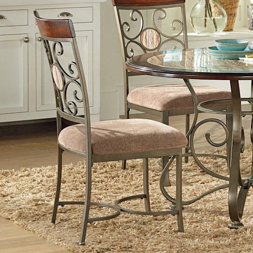 Vendor 3985 Thompson Metal and Glass Suncatcher Dining Side Chair with Upholstered Seat