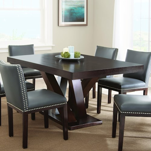 Morris Home Furnishings Tiffany Dark Espresso Cherry Rectangular Table with Angled Post Pedestal