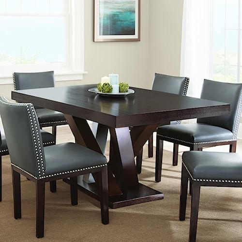 Vendor 3985 Tiffany Dark Espresso Cherry Rectangular Table with Angled Post Pedestal