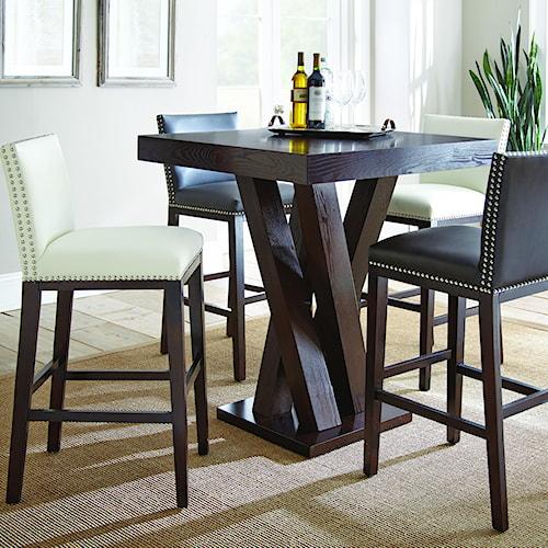 Morris Home Furnishings Tiffany 5 Piece Single Pedestal Bar Table Set
