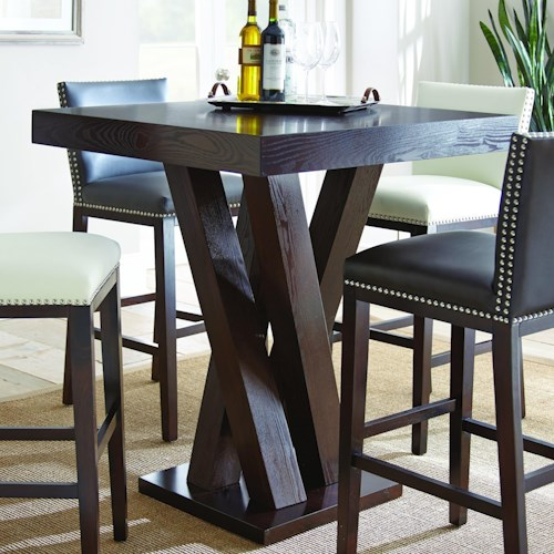 Morris Home Furnishings Tiffany Dark Espresso Cherry Bar Table with Angled Post Pedestal