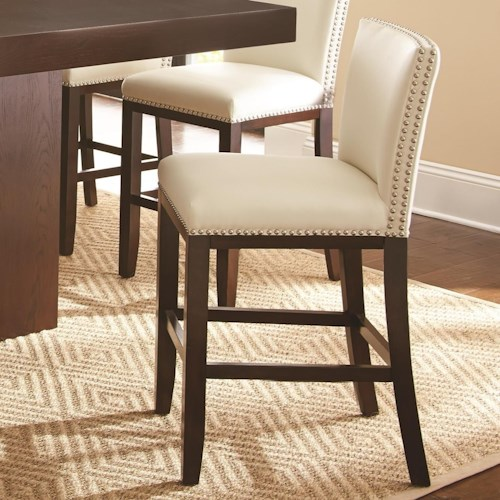 Morris Home Furnishings Tiffany Bonded Leather Counter Height Chair with Nailhead Trim