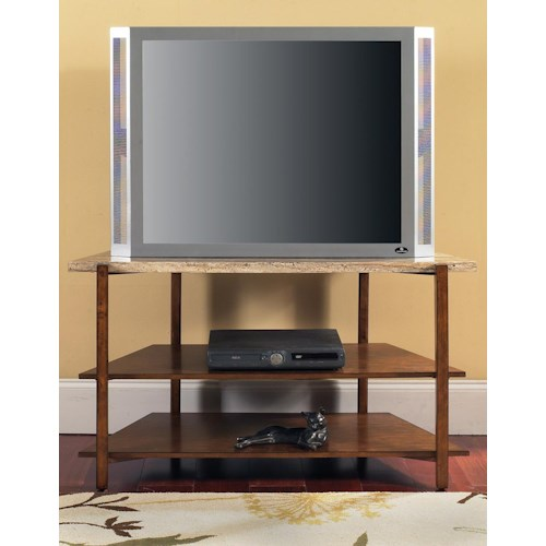 Morris Home Furnishings Tivoli Contemporary Faux Marble 2-Shelf TV Stand