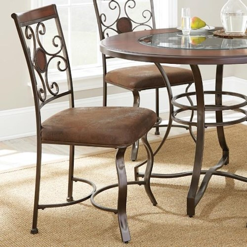 Morris Home Furnishings Toledo Decorative Metal Back Upholstered Side Chair