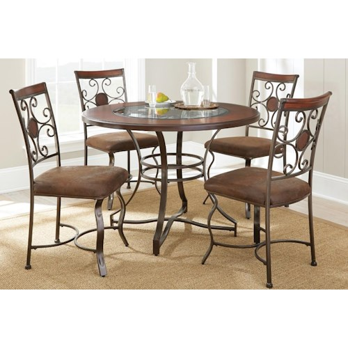 Morris Home Furnishings Toledo 5 Piece Dining Set with Glass Insert