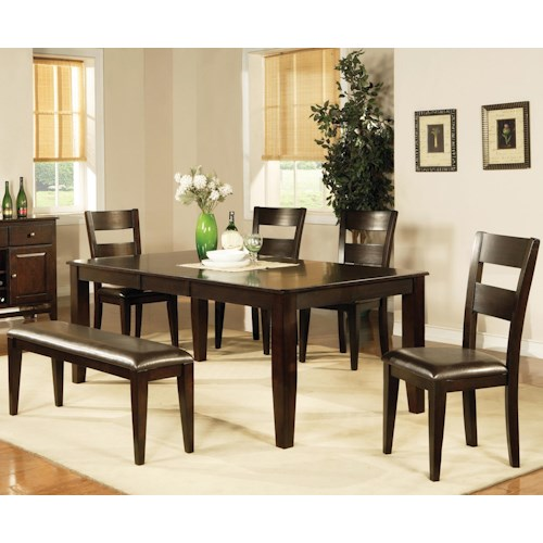 Vendor 3985 Victoria  7 Piece Victoria Dining Set with Side Chairs and Dining Bench