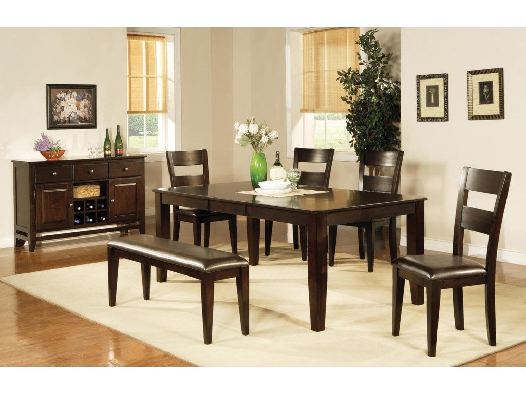 Shown with Victoria Table, Side Chairs, and Bench.