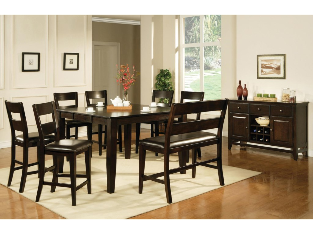 Shown with Victoria Counter Chairs, Counter Bench, and Server.