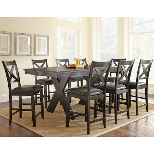 Morris Home Furnishings Violante 9 Piece Counter Dining Set with X-Shaped Base