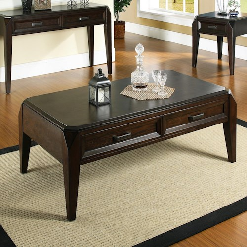 Steve Silver Wellington  Transitional Cocktail Table with 2 Drawers