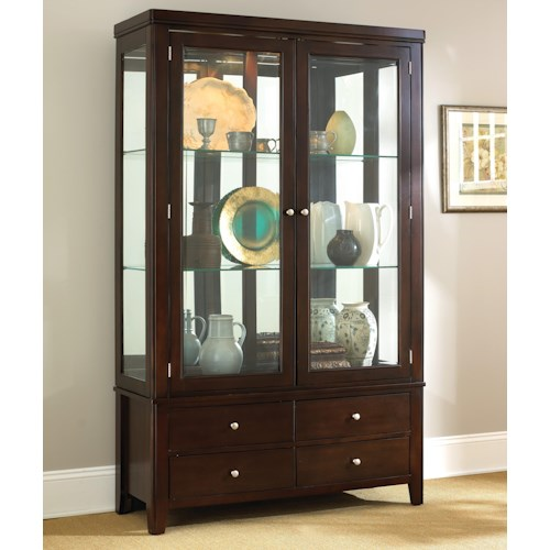Morris Home Furnishings Wilson Contemporary Dark Brown China Cabinet with Drawers & Glass Doors