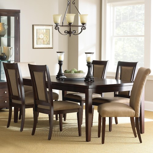 Morris Home Furnishings Wilson 7-Piece Contemporary Dining Set with Parsons Chairs