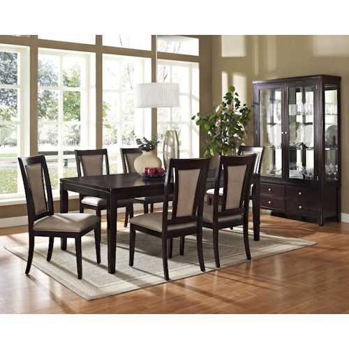 Morris Home Furnishings Wilson 7-Piece Contemporary Rectangular Dining Table & Side Chair Set