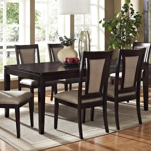 Vendor 3985 Wilson Contemporary Dark Brown Rectangular Dining Table with 18