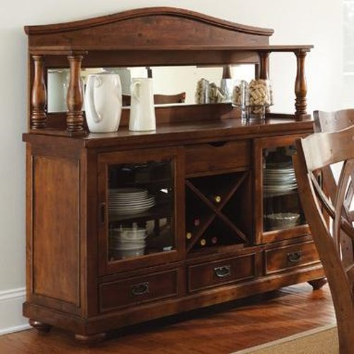 Morris Home Furnishings Wyndham Server with Hutch and Wine Bottle Storage