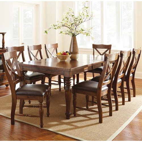 Vendor 3985 Wyndham 9 Piece Dining Set with Rectangular Table