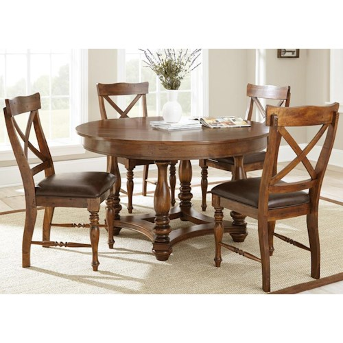 Morris Home Furnishings Wyndham 5 Piece Dining Set with Round Table