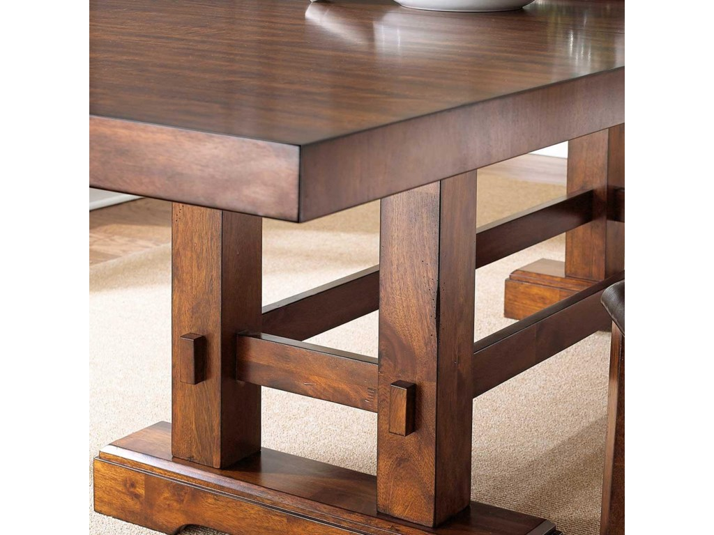 Table Features a Casual Trestle Base with Box Stretcher
