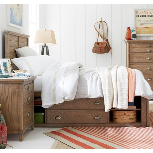Stone & Leigh Furniture Driftwood Park Twin Panel Bed with Underbed Storage