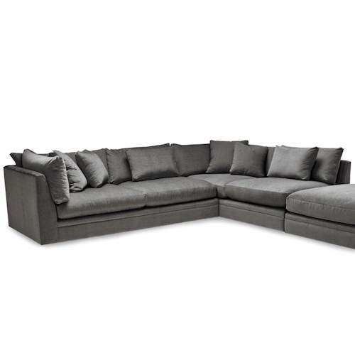 Stylus Bradford Two Piece Sectional Sofa with Scattered Back Pillows and Ottoman