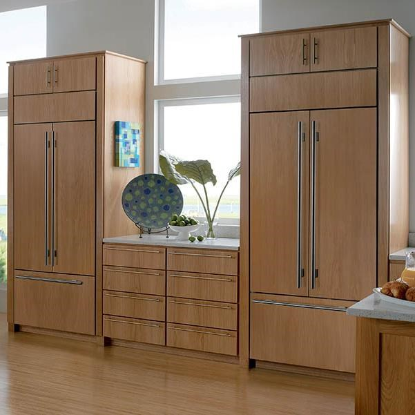 Creative Kitchen Design Incorporating Dual Overlay Application Refrigerators