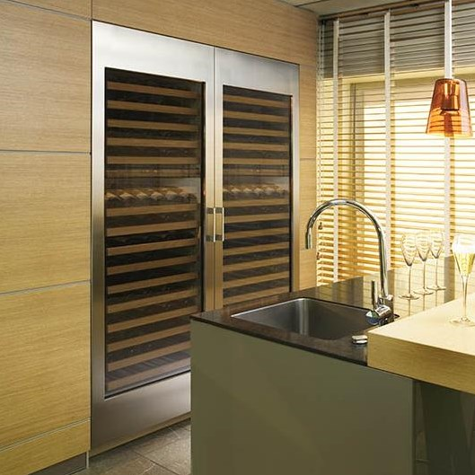 Shown with Classic Stainless Steel Custom Panels and Handles