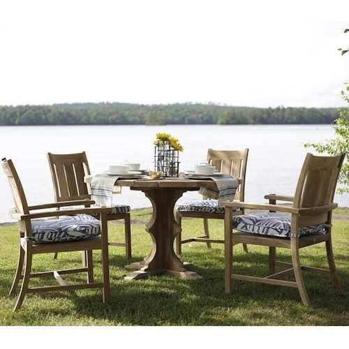 Summer Classics Club Teak 5 Piece Dining Set with Round Pedestal Table