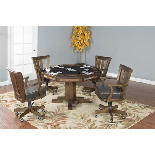 Morris Home Furnishings Alton 5-Piece Game Table with 4 Castered Chairs